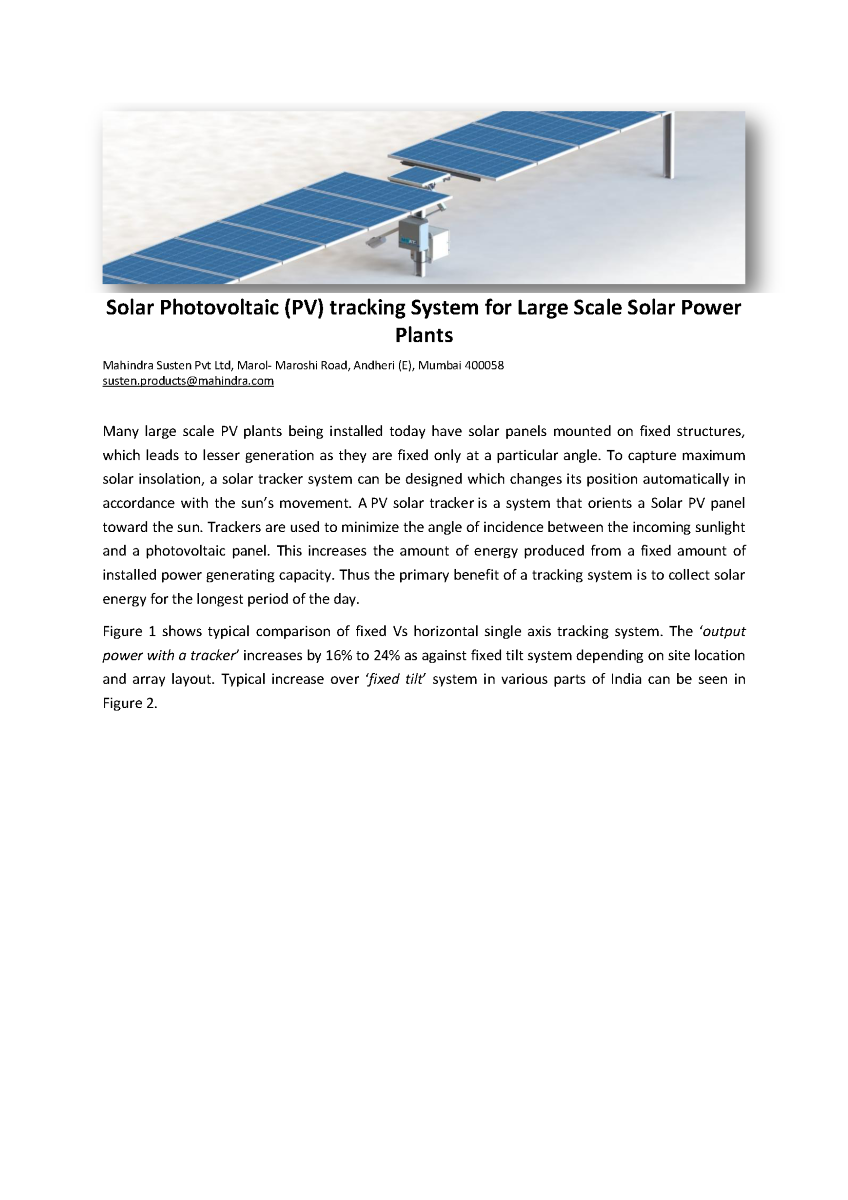 Solar Photovoltaic Pv Tracking System For Solar Power