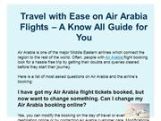 Travel with Ease on Air Arabia Flights – A Know All Guide for You