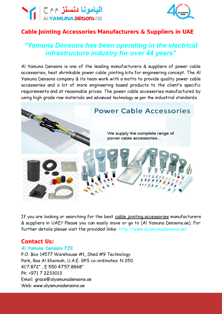 Cable Jointing Accessories Manufacturers & Suppliers in UAE