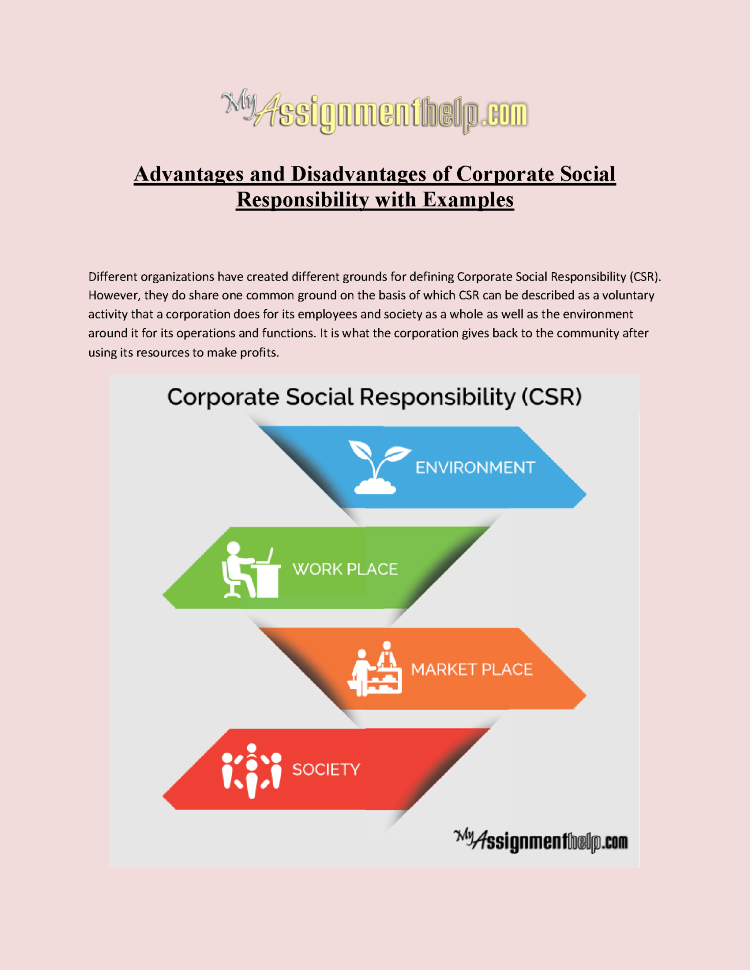 Advantages And Disadvantages Of Corporate Social Responsibility Wi