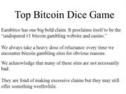 Top Bitcoin Dice Game