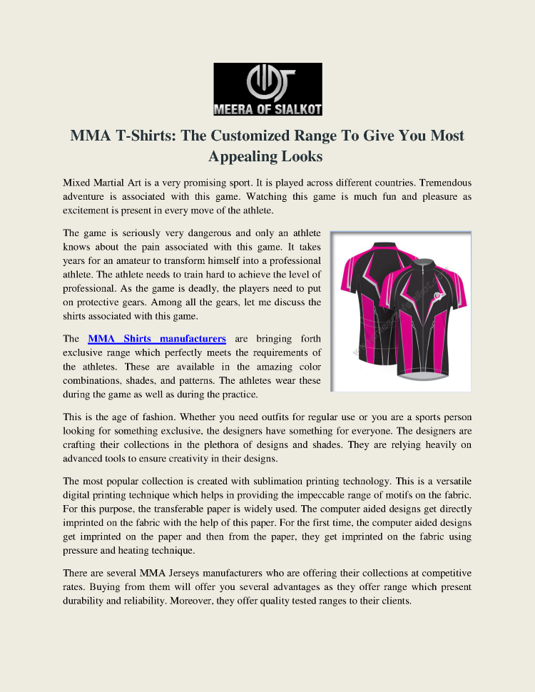 427eebe7 MMA T-Shirt Manufacturers, Suppliers And Exporters  authorSTREAM
