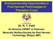 Entrepreneurship opportunities in post harvest technology of plant