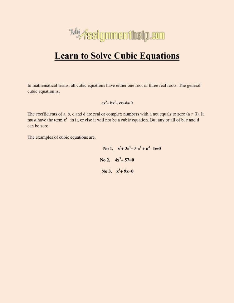 how to solve cubic equtaions