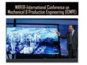 WRFER-International Conference on Mechanical & Production Engineering