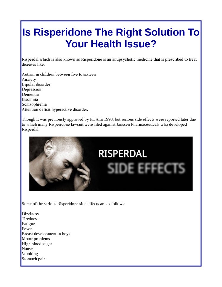Is Risperidone the Right Solution to Your Health Issue