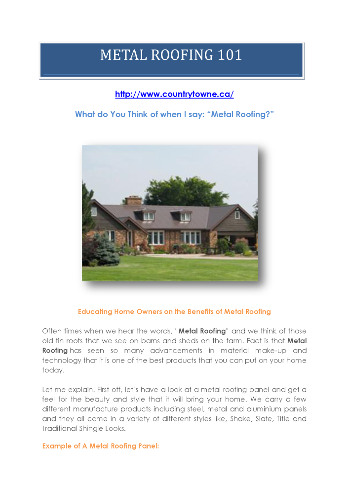 Why Use Metal Roofing for Your Home-Benefits of Metal Roofing 101