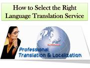 How to Select the Right Language Translation Service