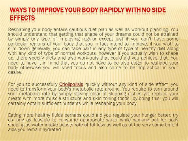 How Working Out Could Replace Your >> Ways To Improve Your Body Rapidly With No Side Effects Authorstream
