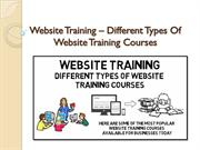 Website Training – Different Types Of Website Training Courses
