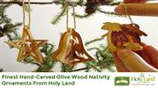 Holy Land Olive Nativity Wood Ornaments