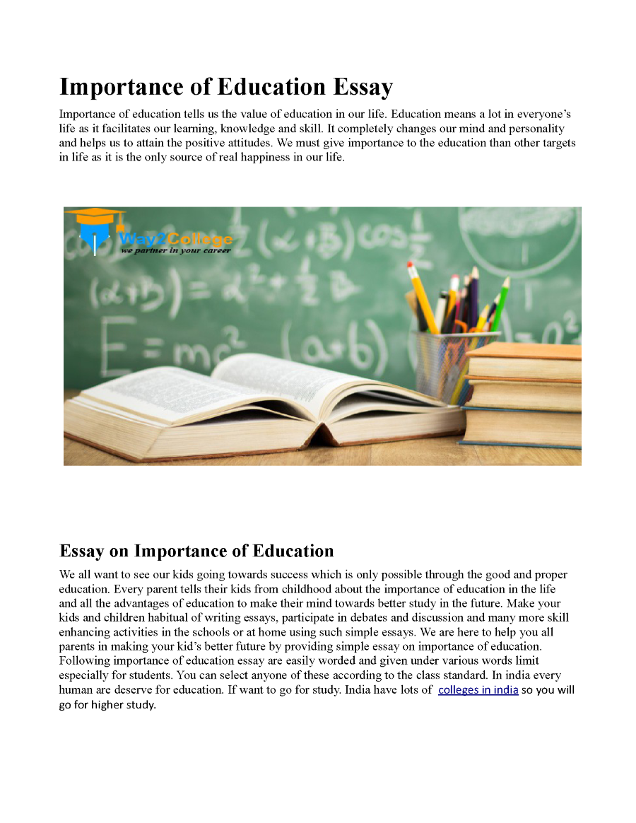 Essay on need of value education