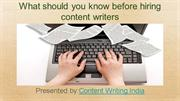 What should you know before hiring content writers