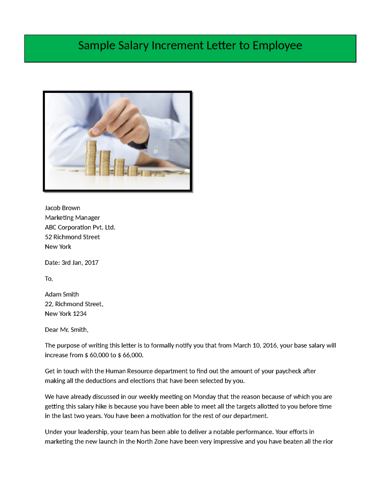 Salary Increment Letter Format for Employee |authorSTREAM