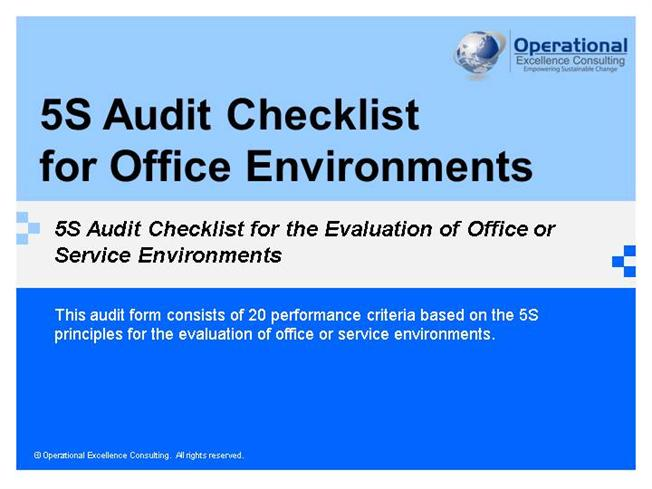 5S Audit Checklist for Manufacturing Companies |authorSTREAM