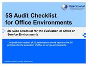 Office 5S Audit Checklist by Operational Excellence Consulting