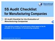 5S Audit Checklist for Manufacturing Companies