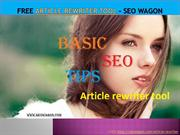 Free Article Rewriter Tool - SEO WAGON