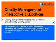 Quality Management Philosophies & Quotations