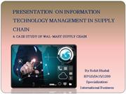 A CASES STUDY ON IT MANAGEMENT INSUPPLY CHAIN