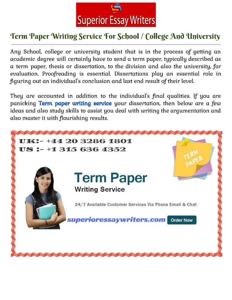 term paper writing services Term paper writing services a term paper is one of the most critical assignments a student has to complete before graduation term papers are very vital mainly at.