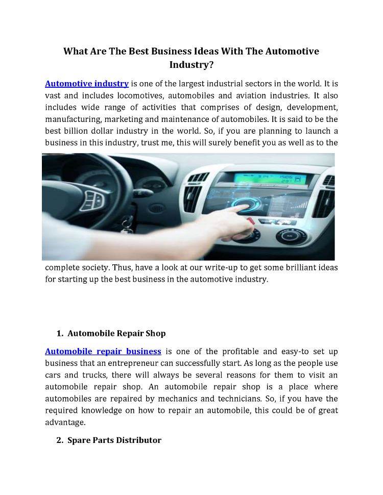What are the Best Business Ideas With the Automotive Industry ...