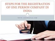 Procedure for one person company registration in India