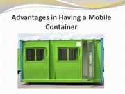 Advantages in Having a Mobile Container