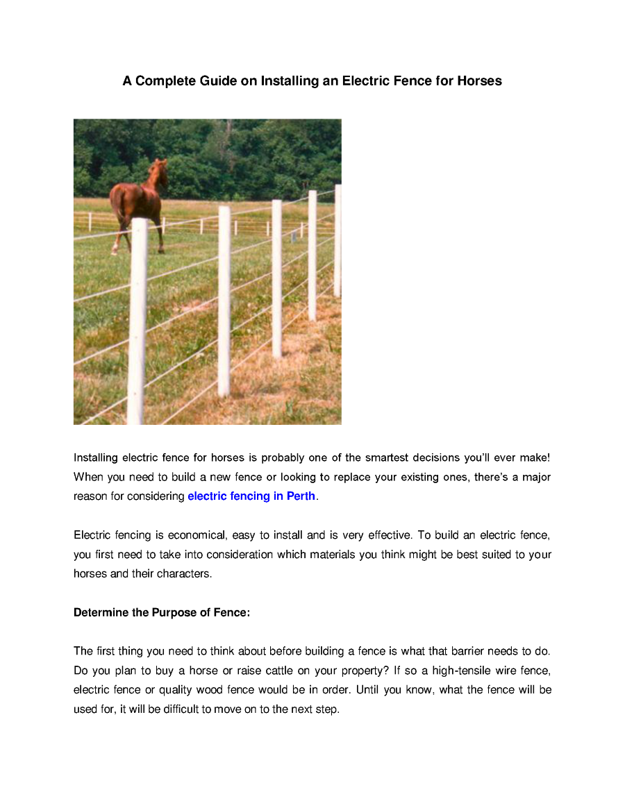 A complete guide on installing an electric fence for for Fence installation tips