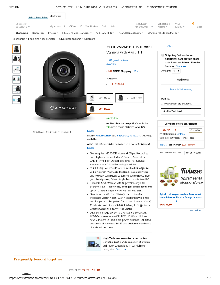 Amcrest Prohd IP2M-841B 1080P Wifi Wireless IP Camera With Pan _ T