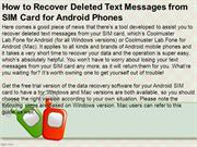 How to Recover Deleted Text Messages from SIM Card for Android Phones