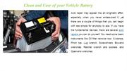 Clean and Care of your Vehicle Battery- Partsavatar.ca, Online auto