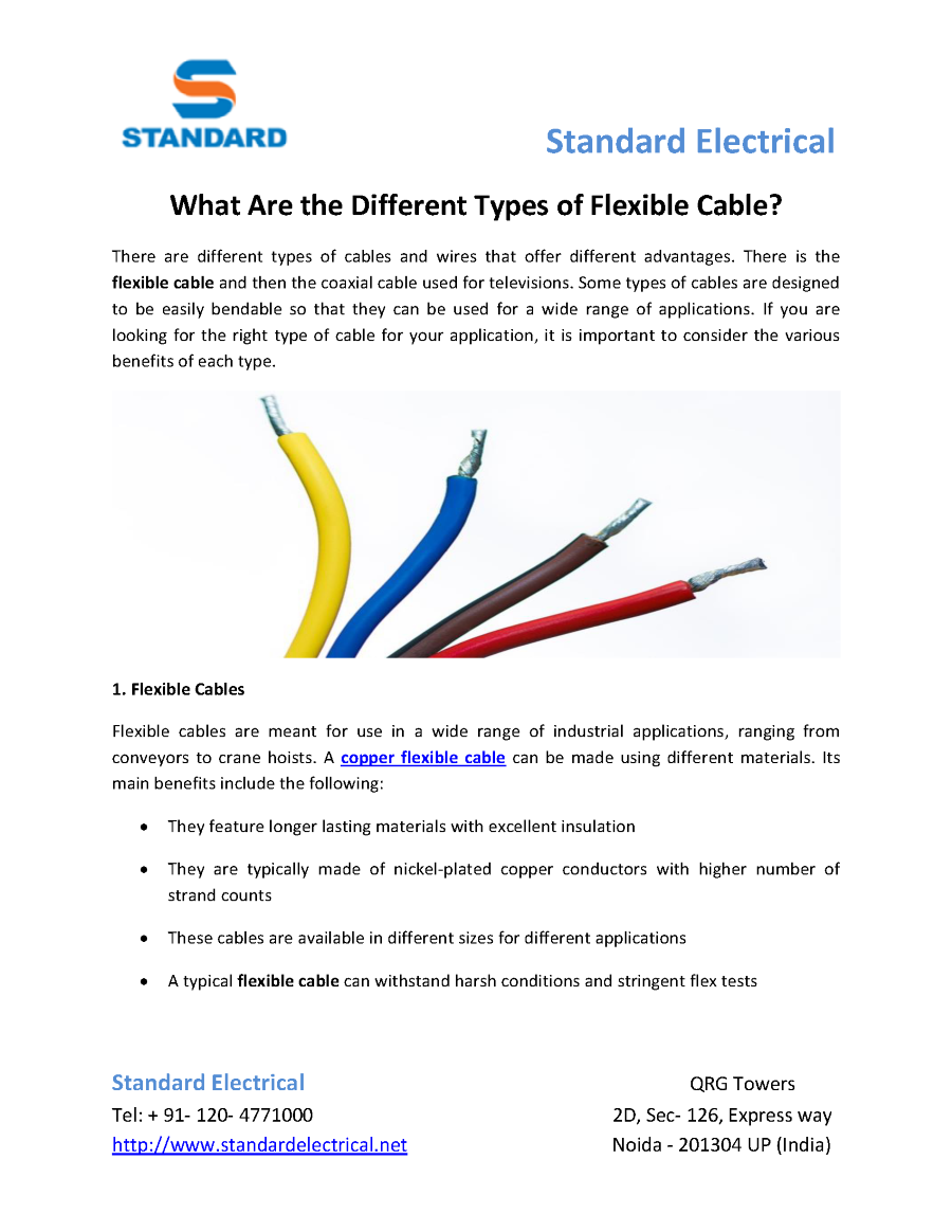 What are the Different Types of Flexible Cable |authorSTREAM