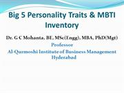 Big 5 Personality Traits & MBTI Inventory