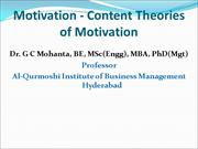 Motivation-Content Theories of Motivation