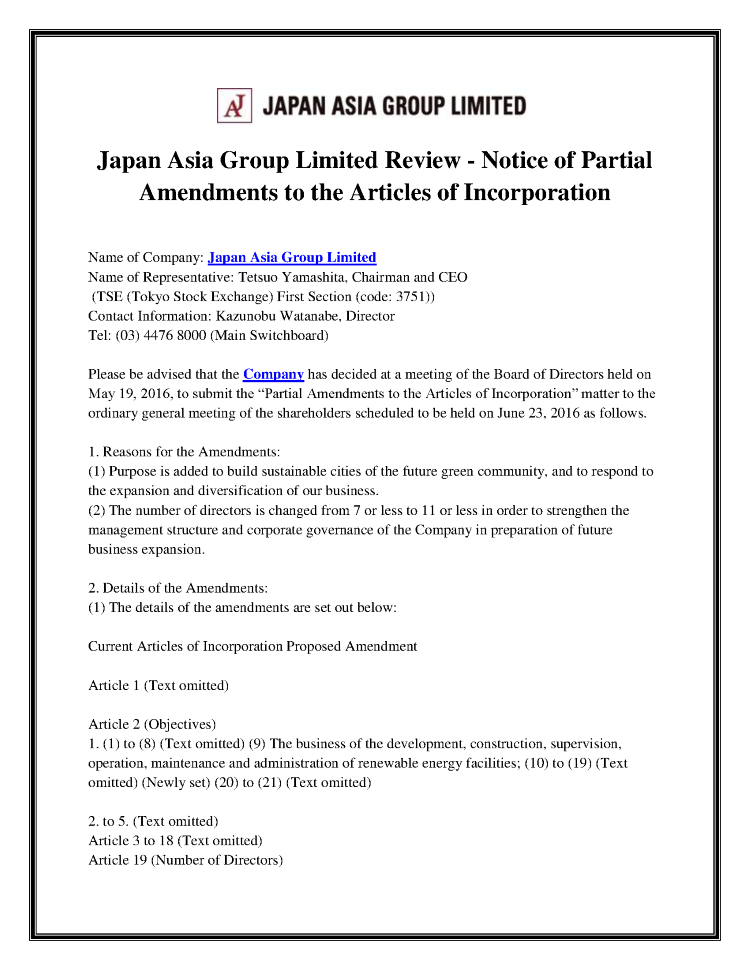 Japan Asia Group Limited Review - Notice of Partial Amendments