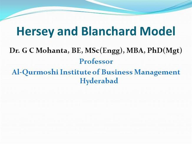 Hersey And Blanchard Model Authorstream