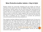 Wear Protective Leather Jackets & Stay In Style