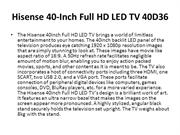 Hisense 40-Inch Full HD LED TV 40D36