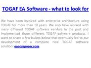 TOGAF EA Software - what to look for