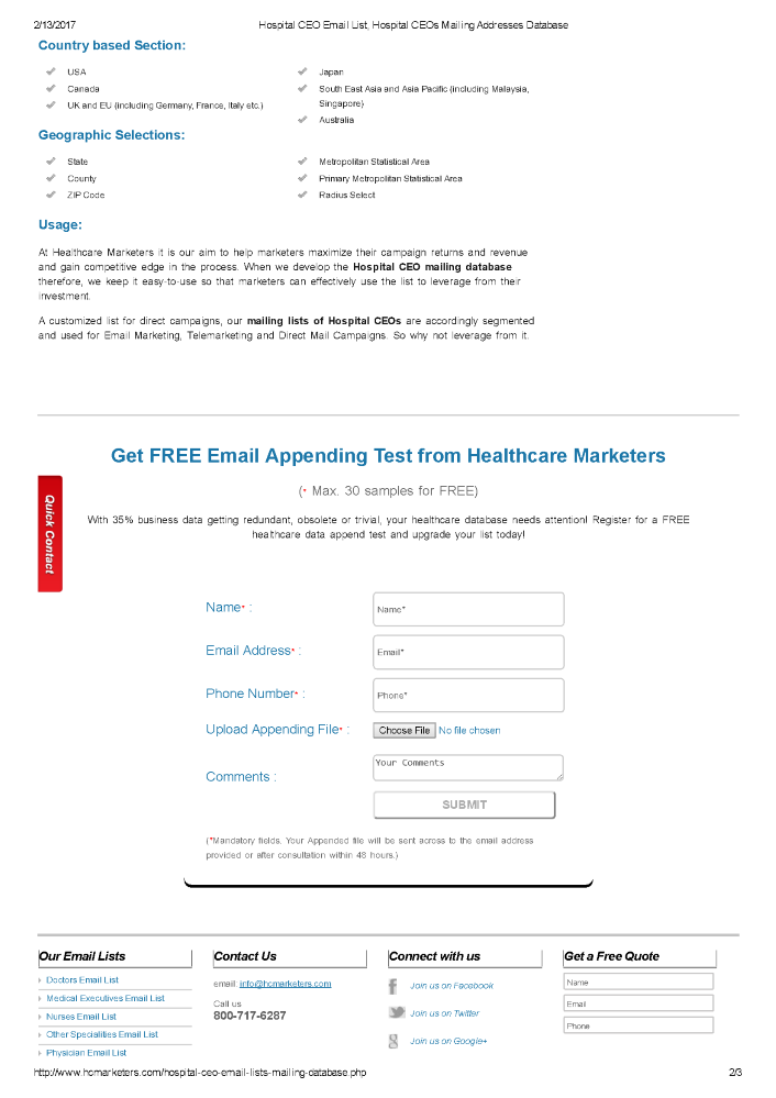 Hospital CEO Email List |authorSTREAM