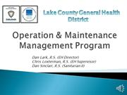 Operation  Maintenance Management Public Meeting with audio