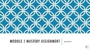 Module 1 Mastery Assignment