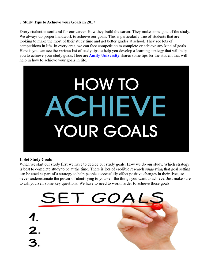 how to achieve goal in study