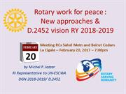 Rotary work for Peace: New approaches for 2017 and beyond