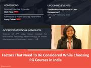 Factors That Need To Be Considered While Choosing PG Courses in India