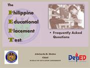 3-2016 PEPT Overview - Philippine Educational Placement Test