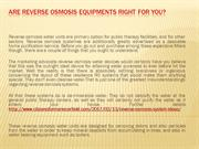 Are Reverse Osmosis Equipments Right For You