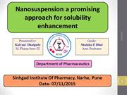 NANOSUSPENSION A PROMISING APPROCH FOR SOLUBILITY ENHANCEMENT