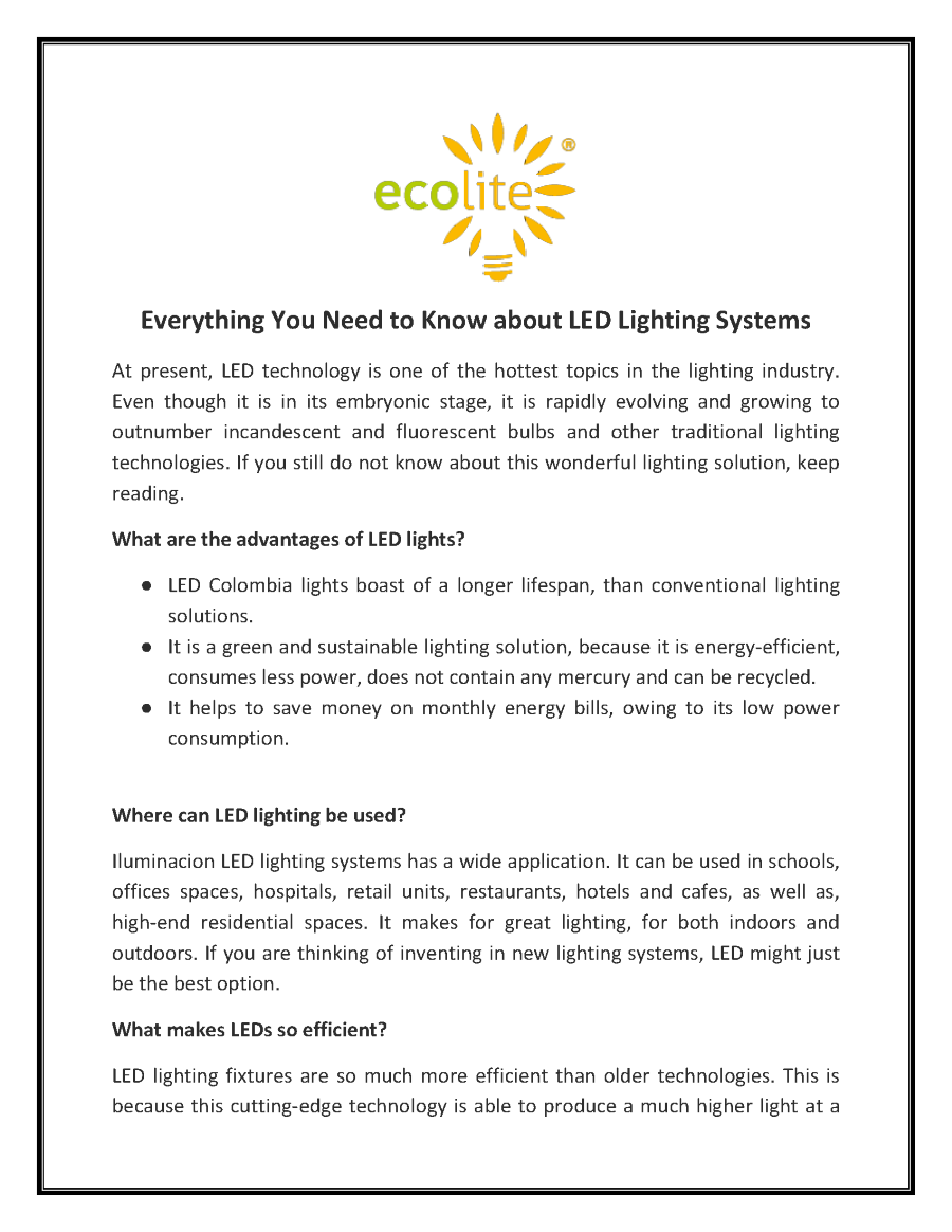 Everything You Need to Know about LED Lighting Systems ...